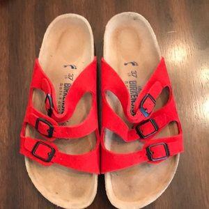 VGC Red suede Birkenstock sandals in 37